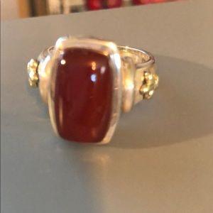 Ann King Sterling Silver 18K Gold Carnelian Ring